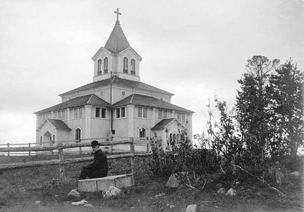 Iglesia de Gällivare, Provincia de Laponia, Suecia.