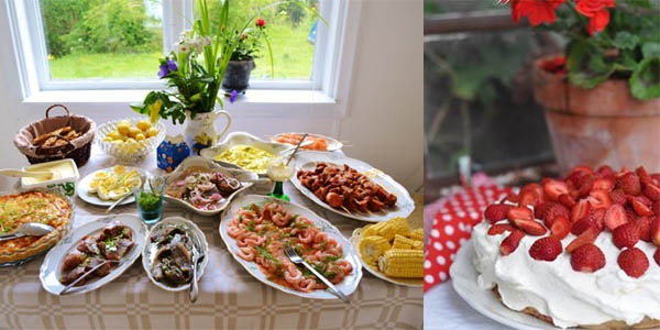 Comida típica en el Midsommar.
